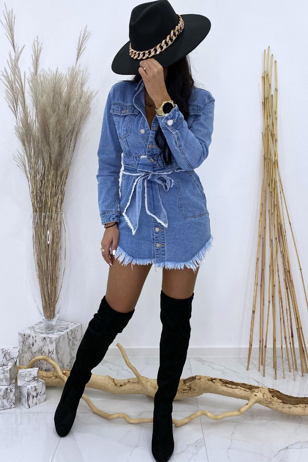 Džínové košilové šaty s páskem - Mavi