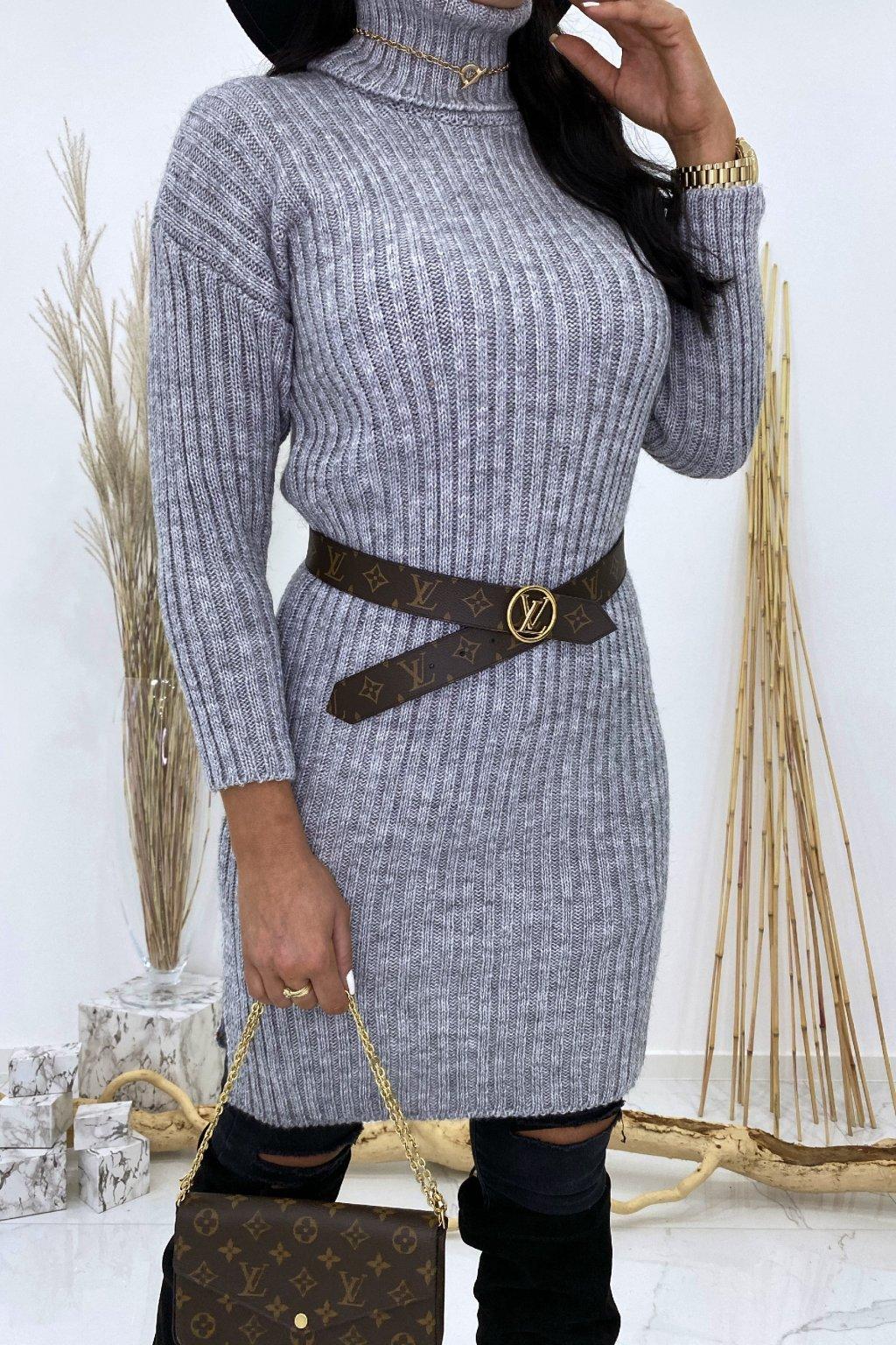 Pletené šedé šaty s rolákem - Lola
