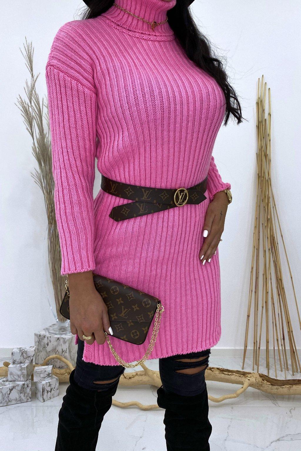 Pletené růžové šaty s rolákem - Lola