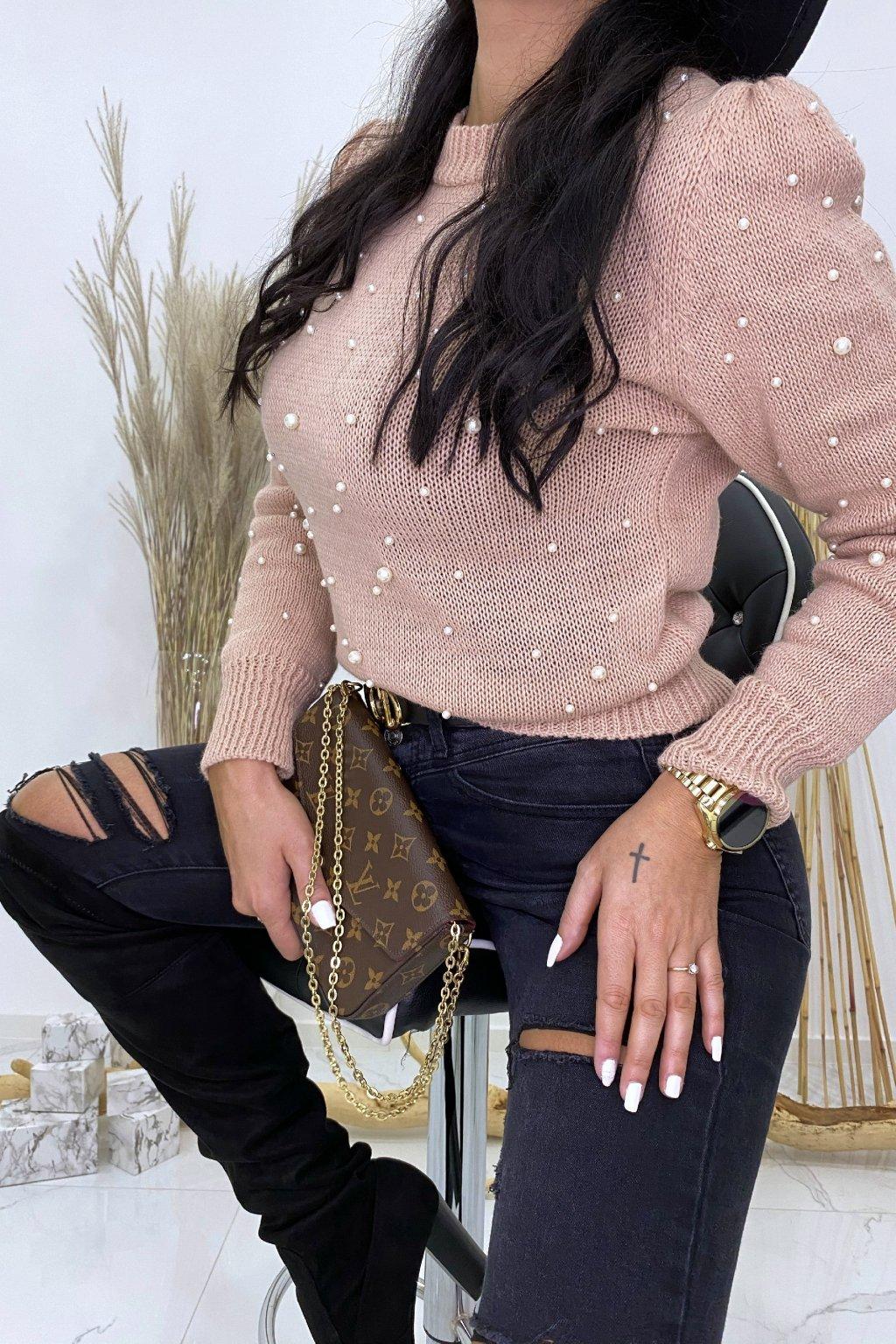 Pudrový svetřík s perličkami - Bueno