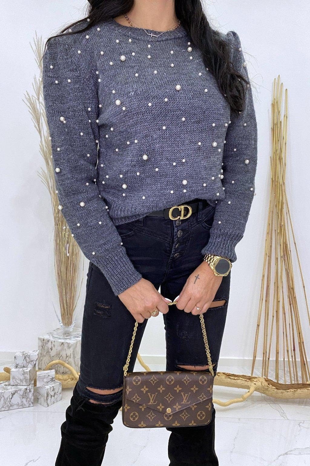 Grafitový svetřík s perličkami - Bueno