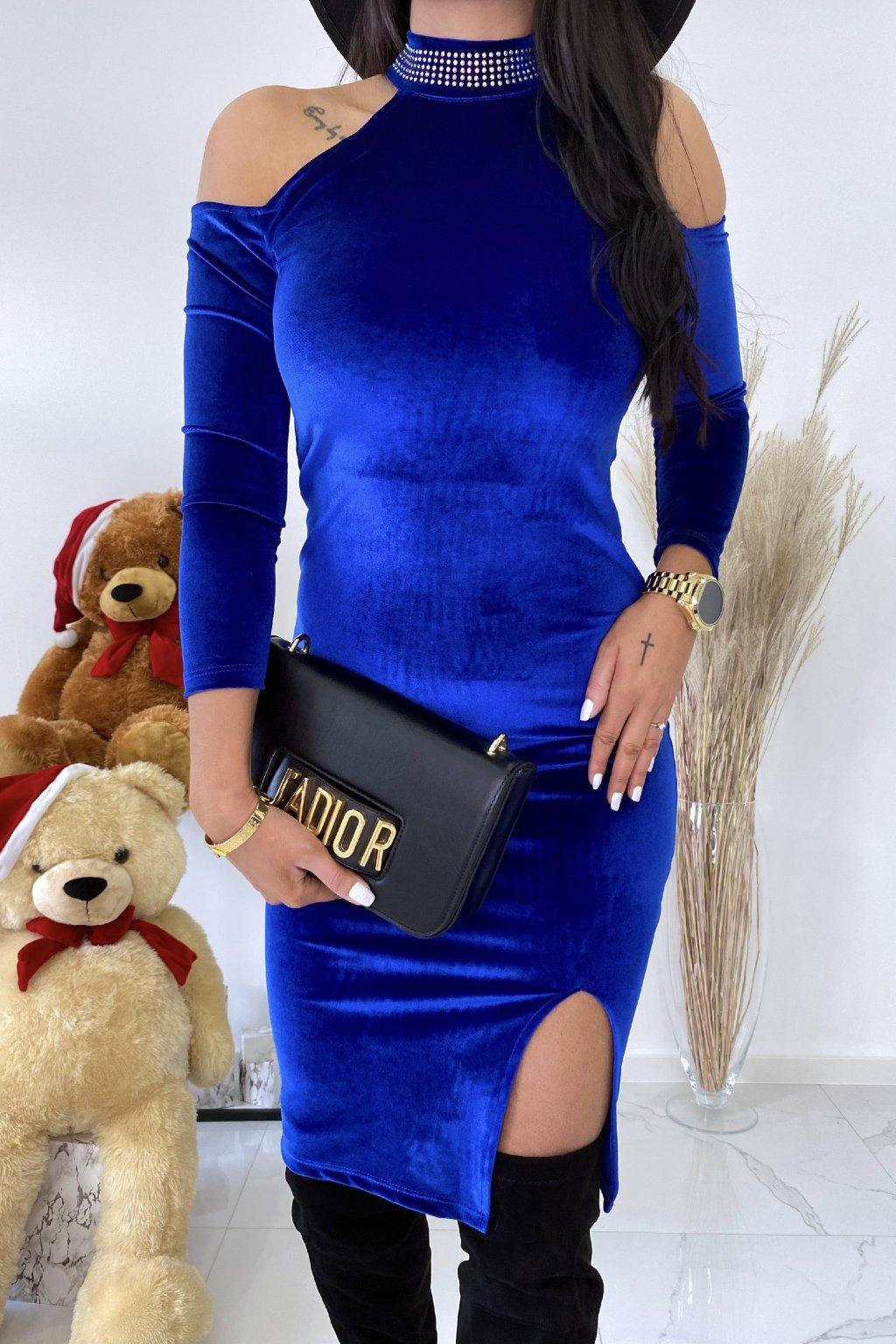 Modré šaty s chokerem - Santa fe