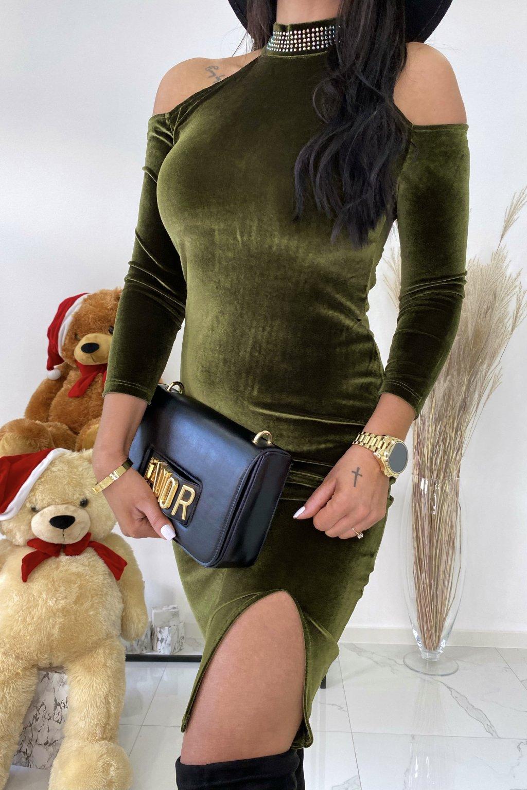 Khaki šaty s chokerem - Santa fe