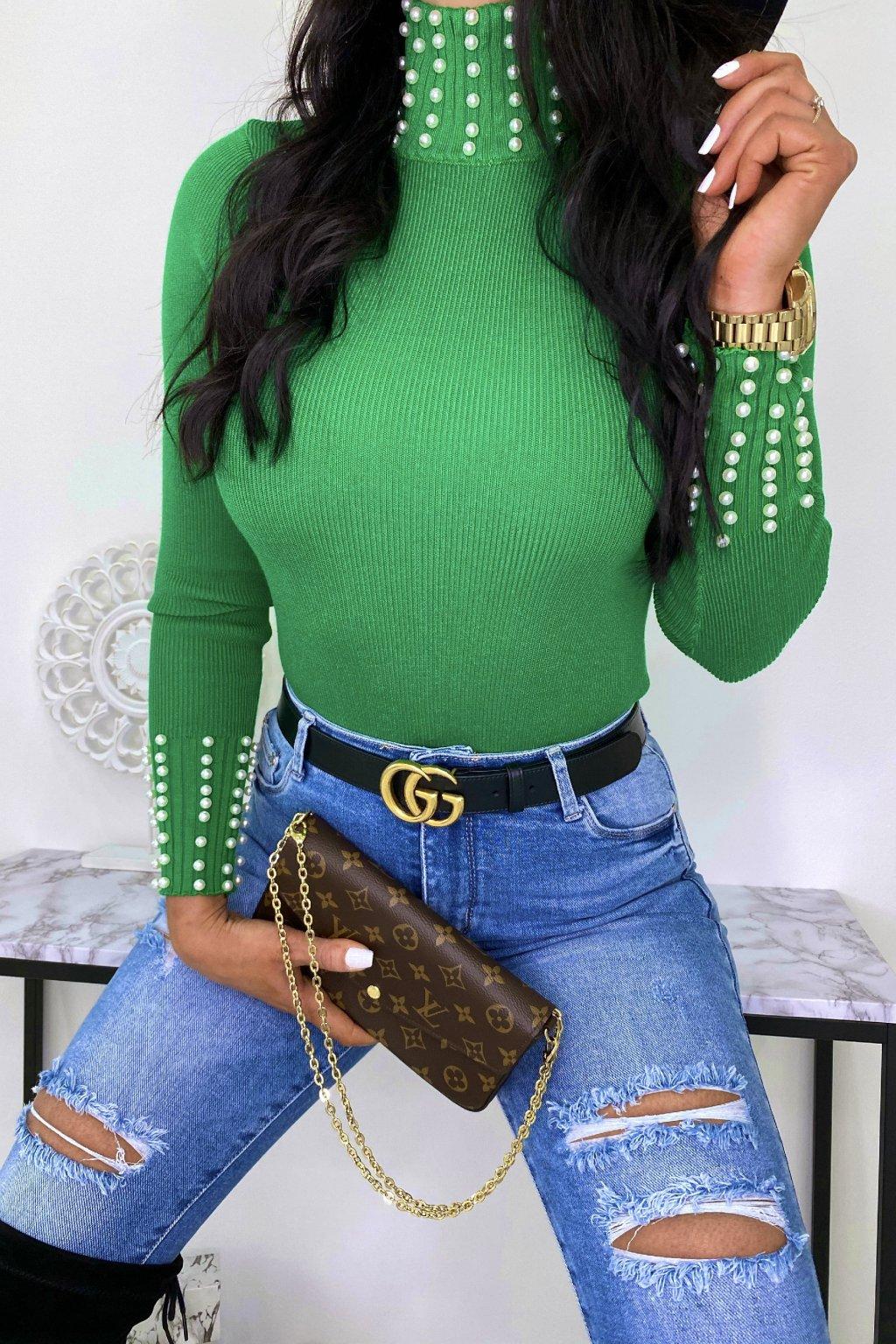 Zelený rolákový svetřík - Pearls