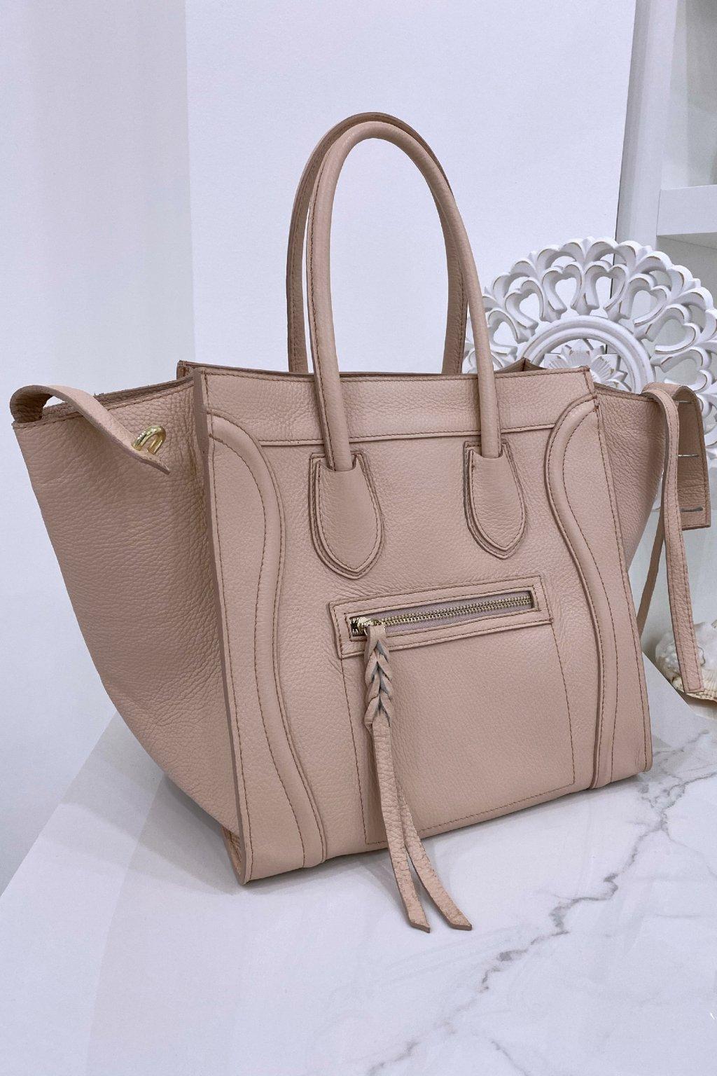 Kožená růžová kabelka - Celine