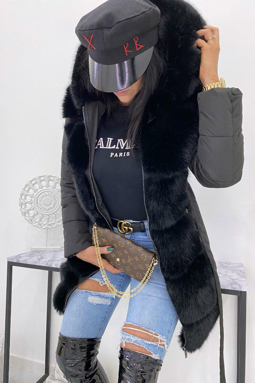 Černá zimní bunda s kožešinou - Winter