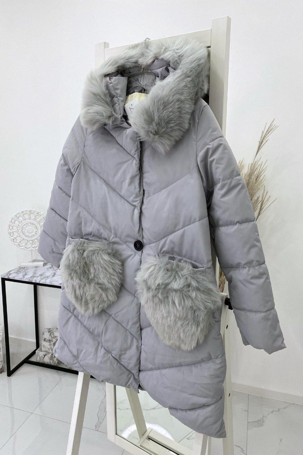 Zimní šedá bunda s knoflíky