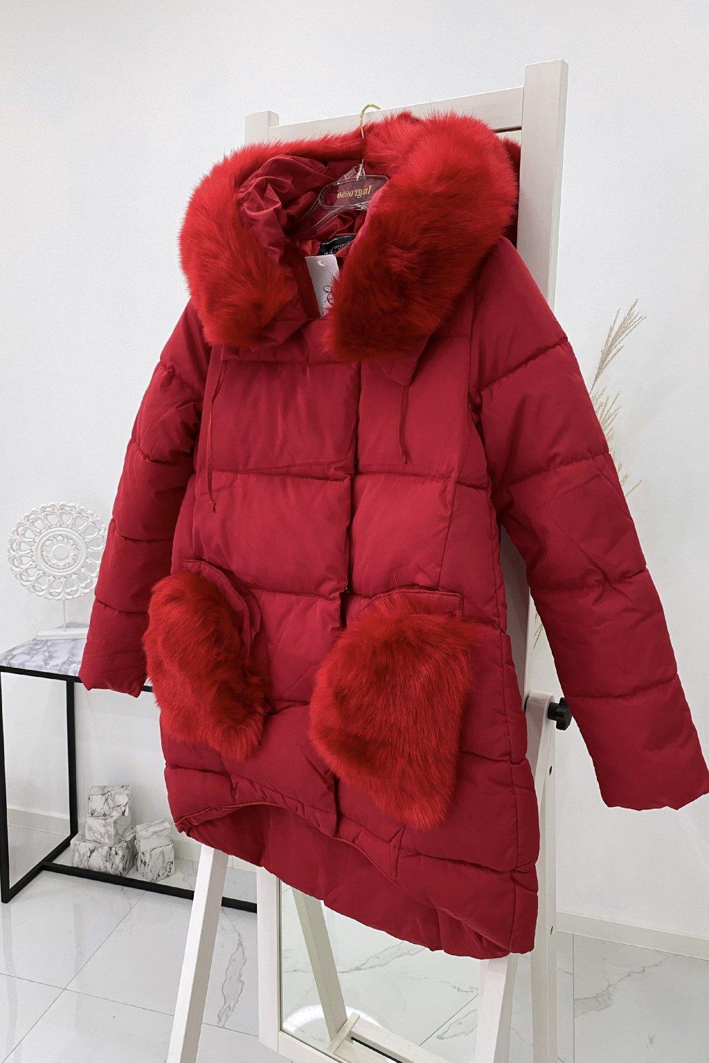 Zimní asymetrická červená bunda
