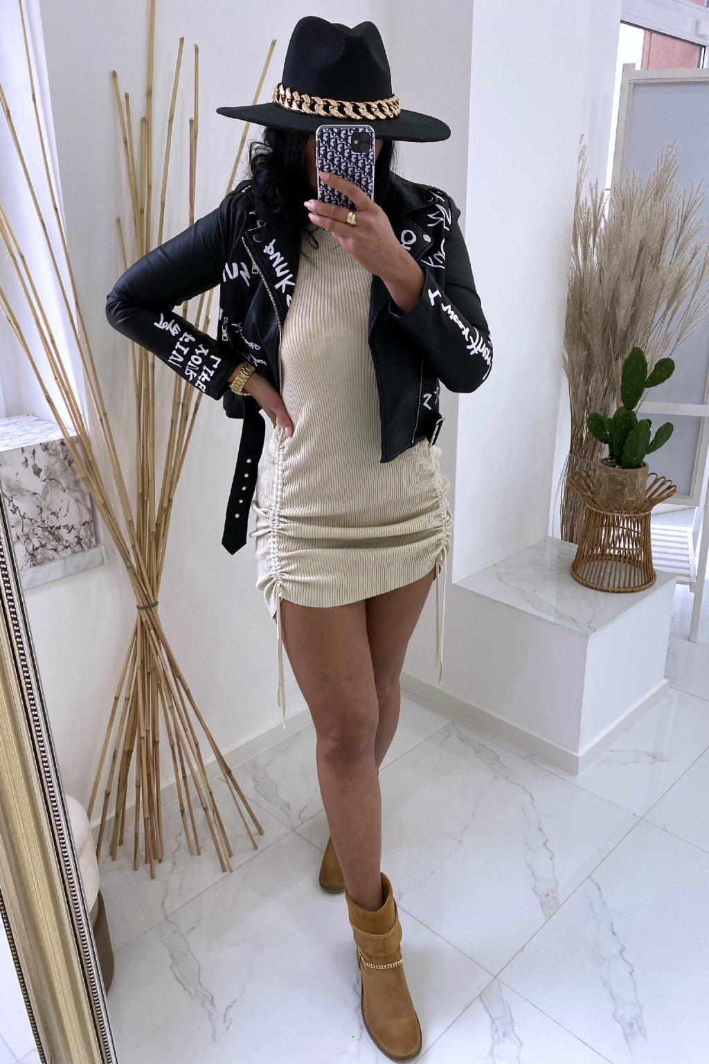 Svetrové šaty - Sandra/beige