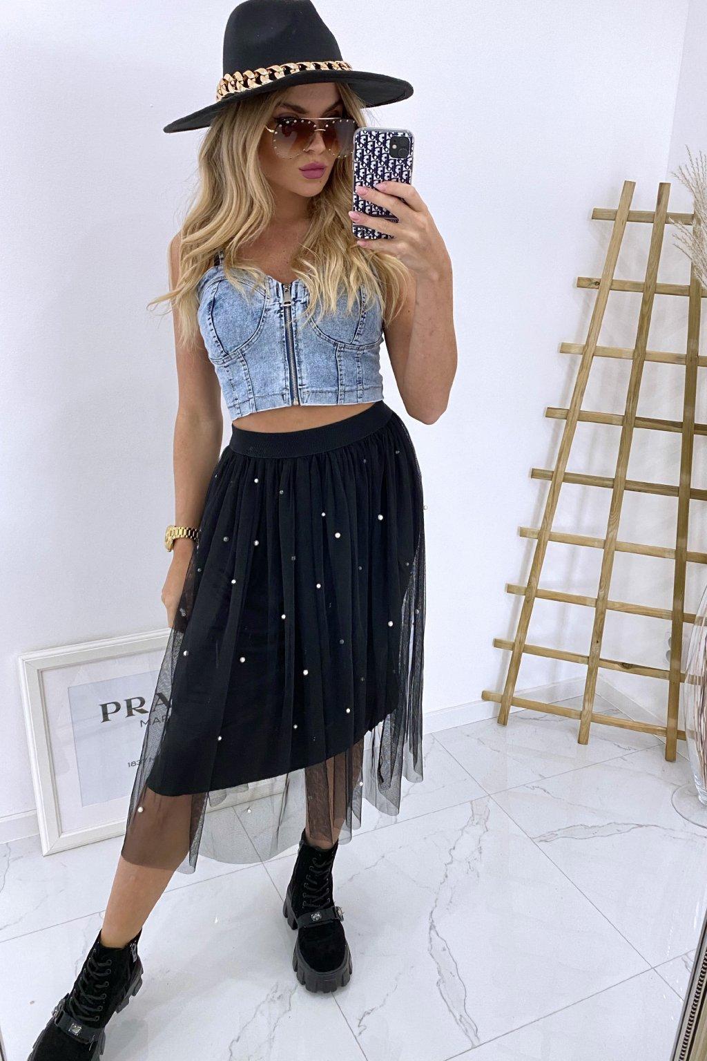 Týlová sukně Pearls/Black