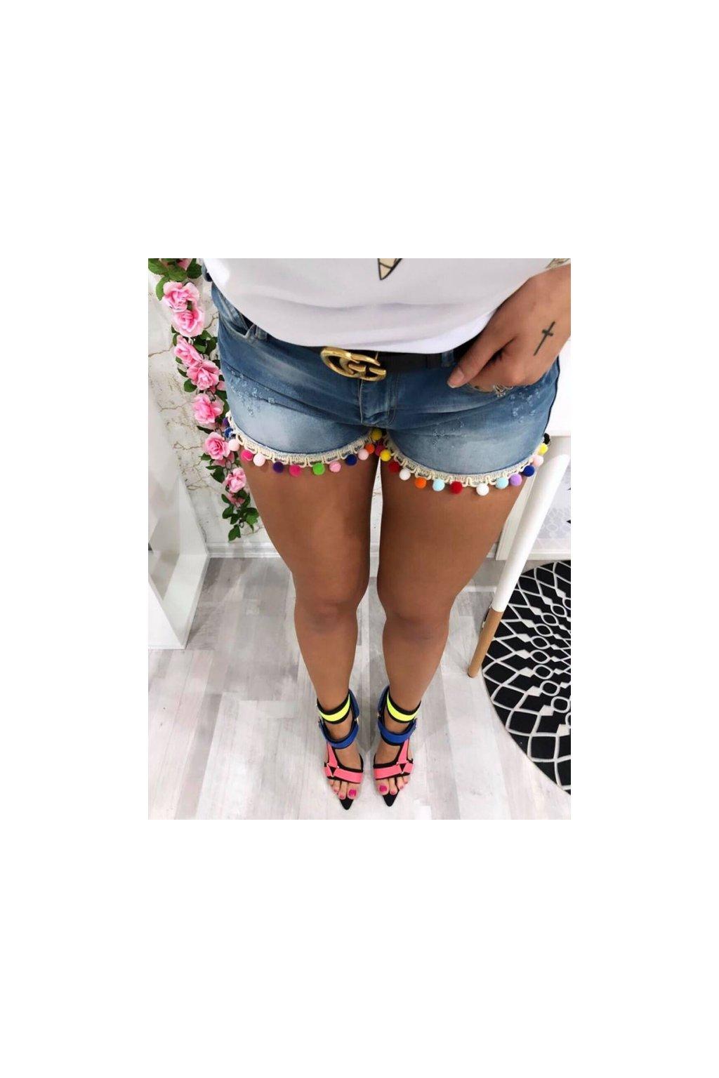 Jeans kraťasy s pompony