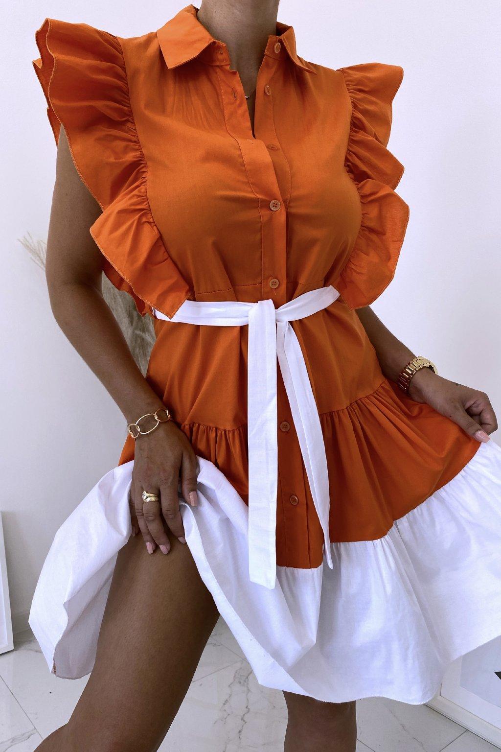 Oranžové košilové šaty Perfectly