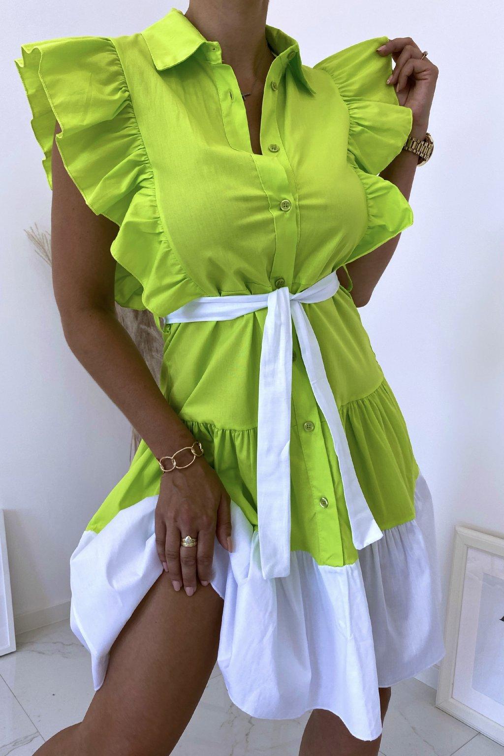 Limetkové košilové šaty Perfectly