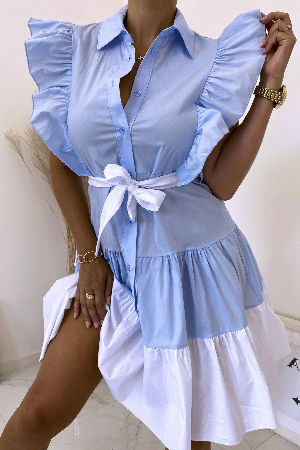 Světlé modré košilové šaty Perfectly
