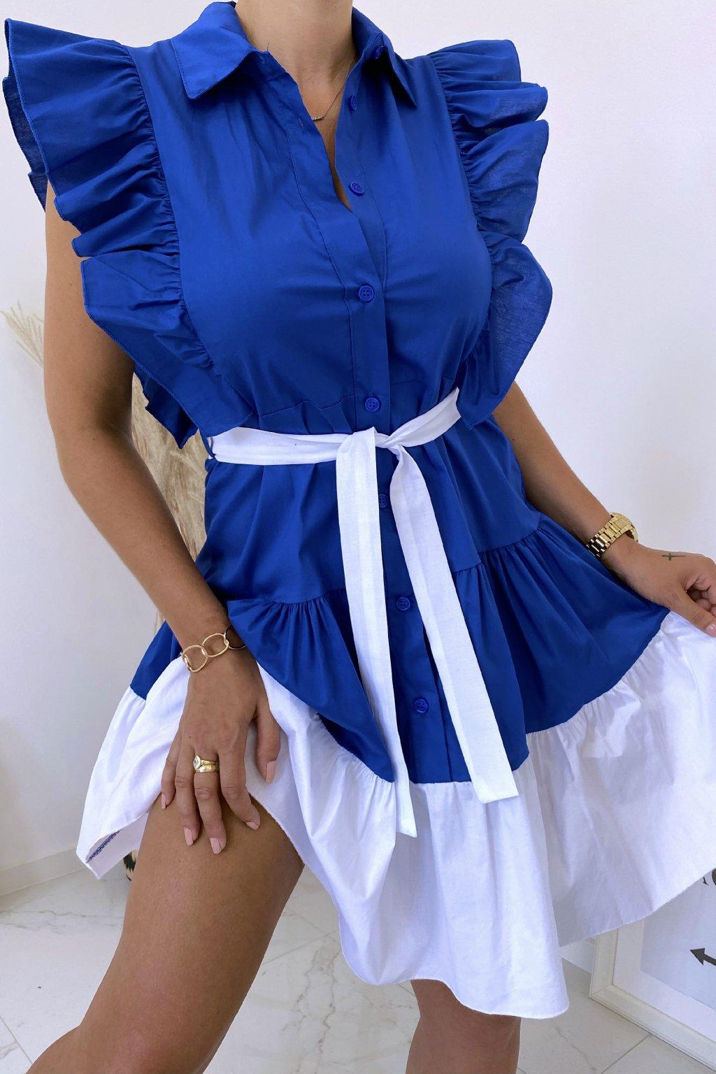 Královsky modré košilové šaty Perfectly