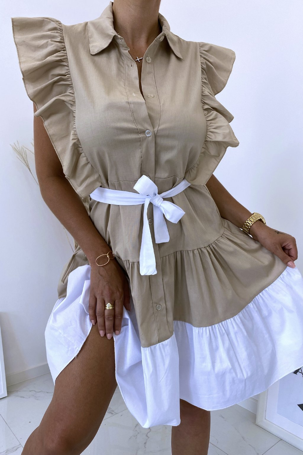 Béžové košilové šaty Perfectly