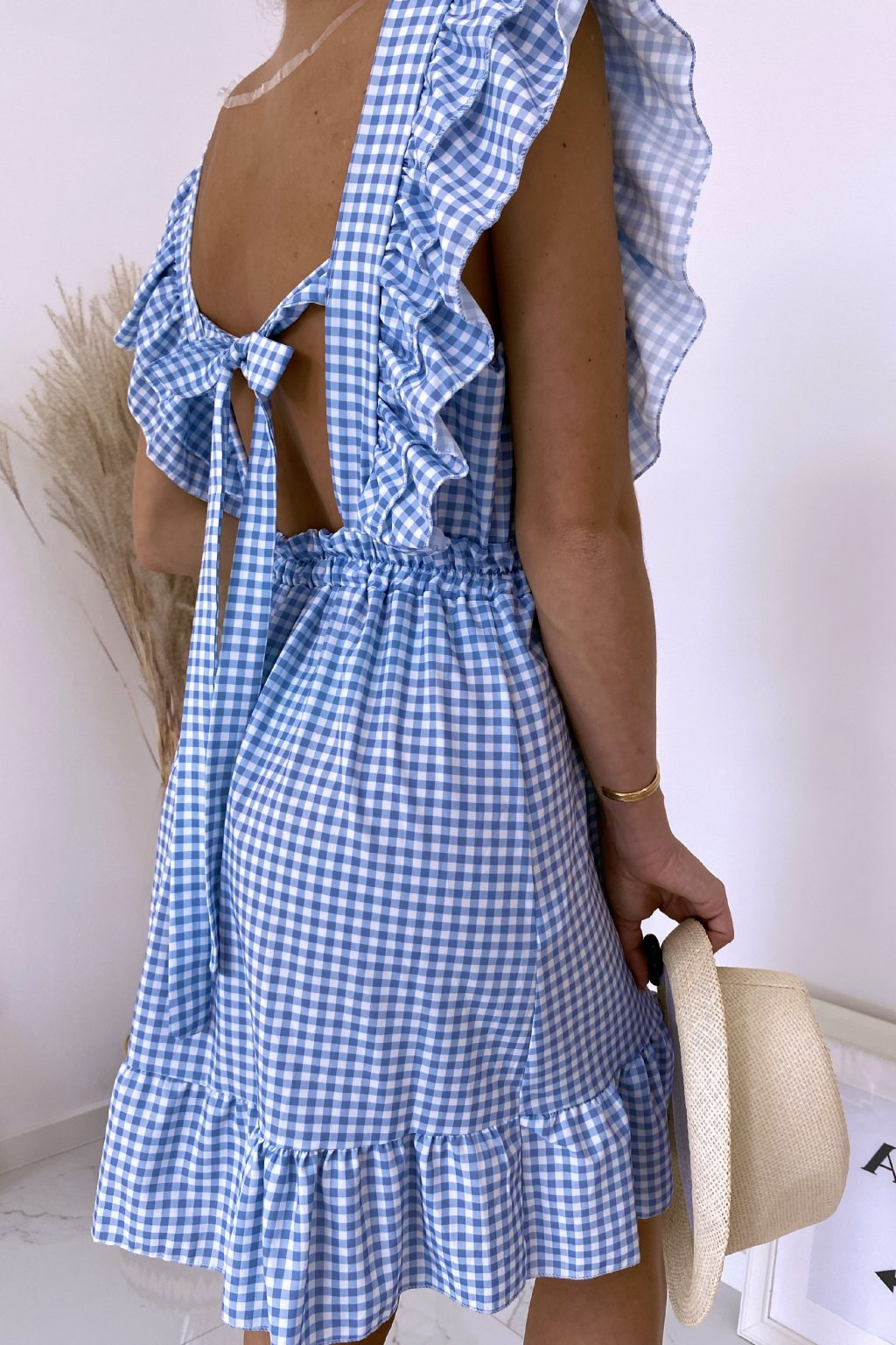 Modré kárované šaty Carmella