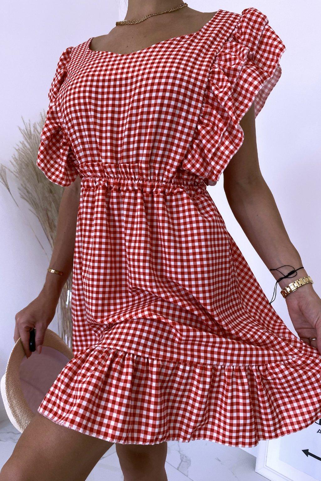 Červené kárované šaty Carmella
