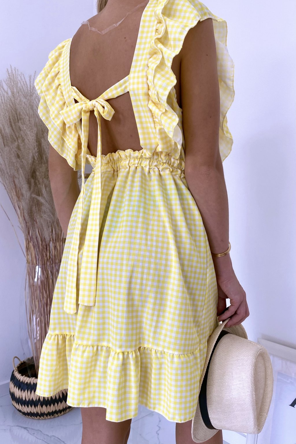 Žluté kárované šaty Carmella