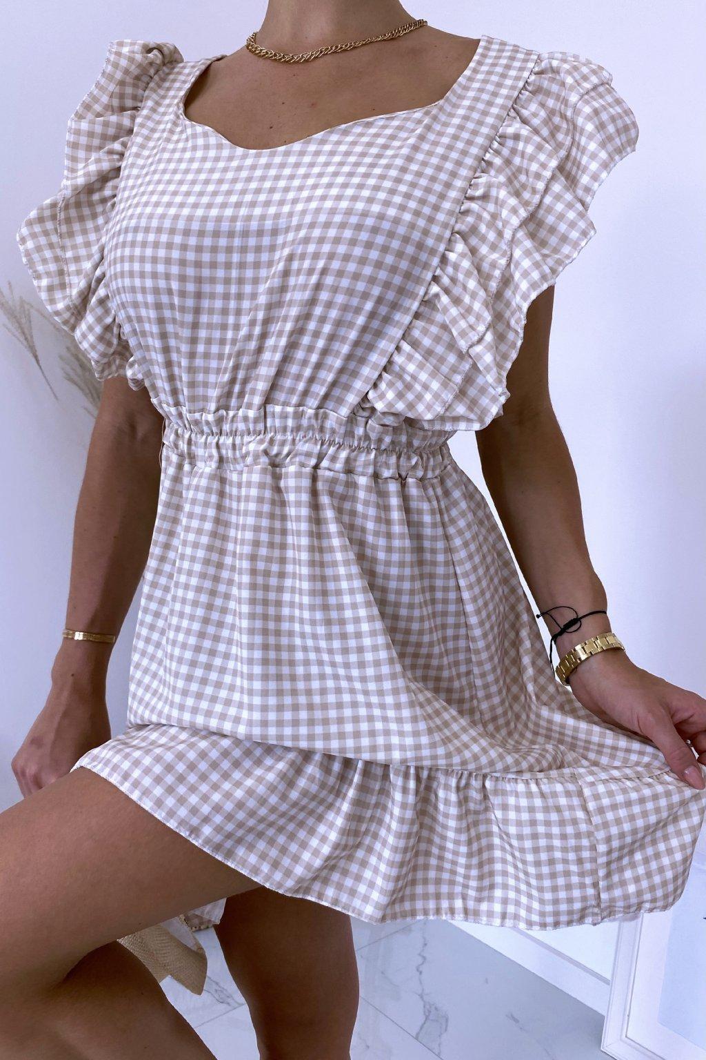 Béžové kárované šaty Carmella