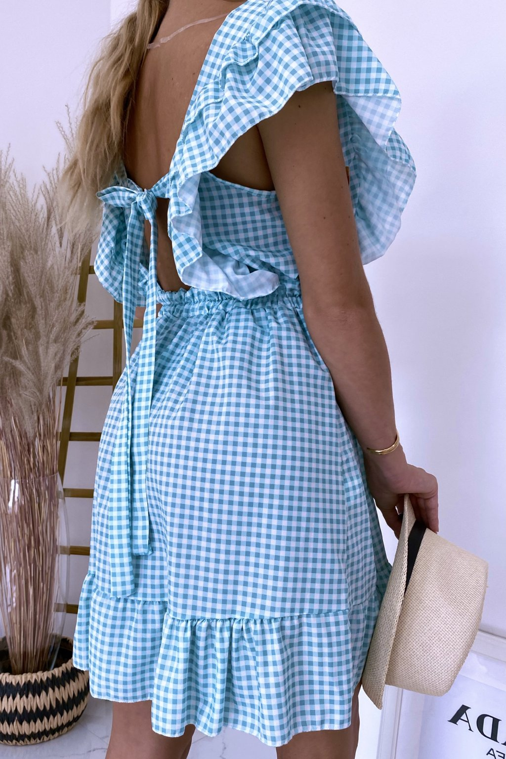 Mintové kárované šaty Carmella