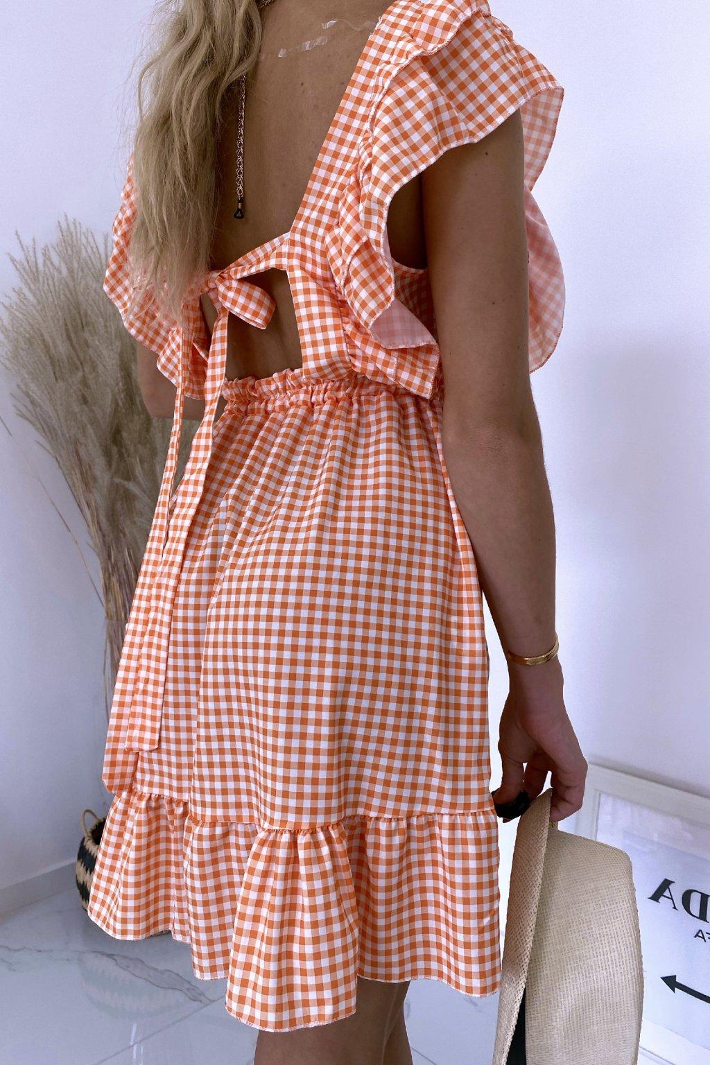 Oranžové kárované šaty Carmella