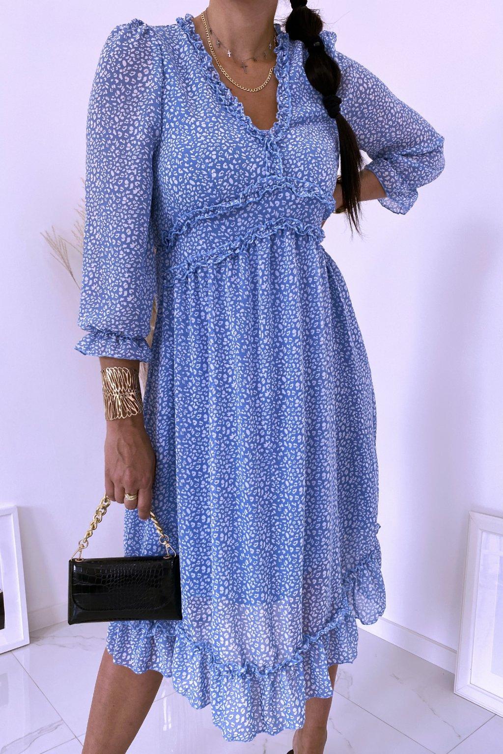 Modré midi šaty Zara
