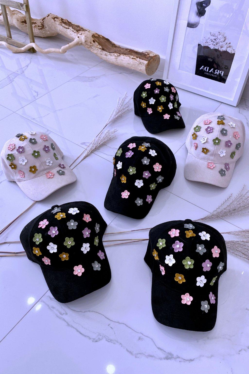 Černá kšiltovka 3D flower