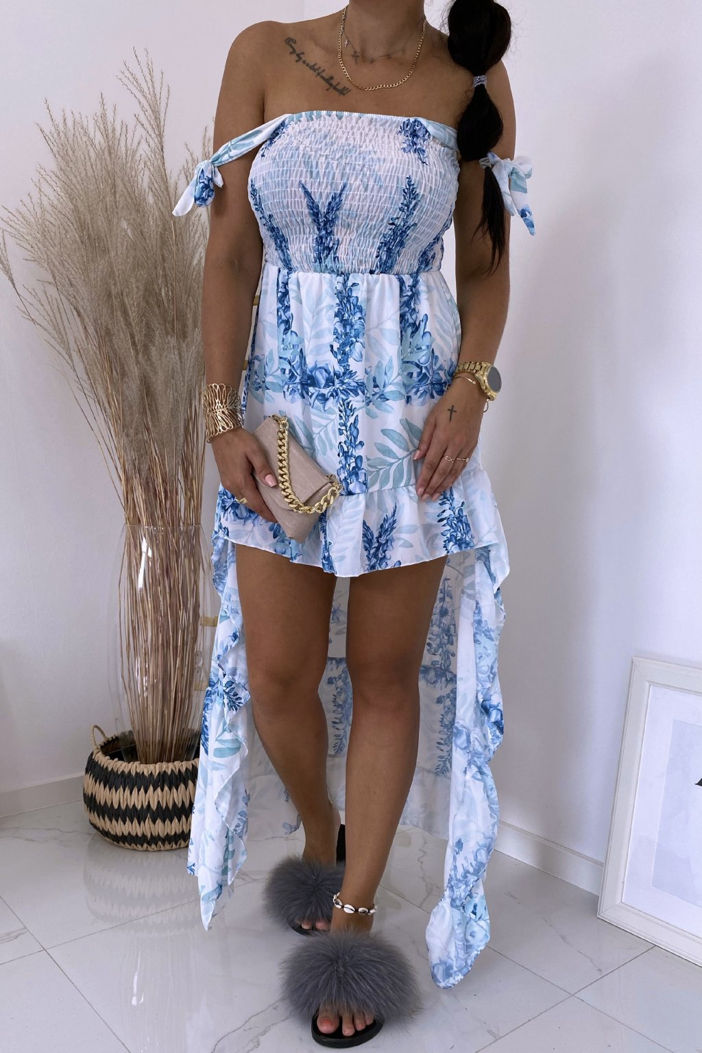 Modré šaty Botanical