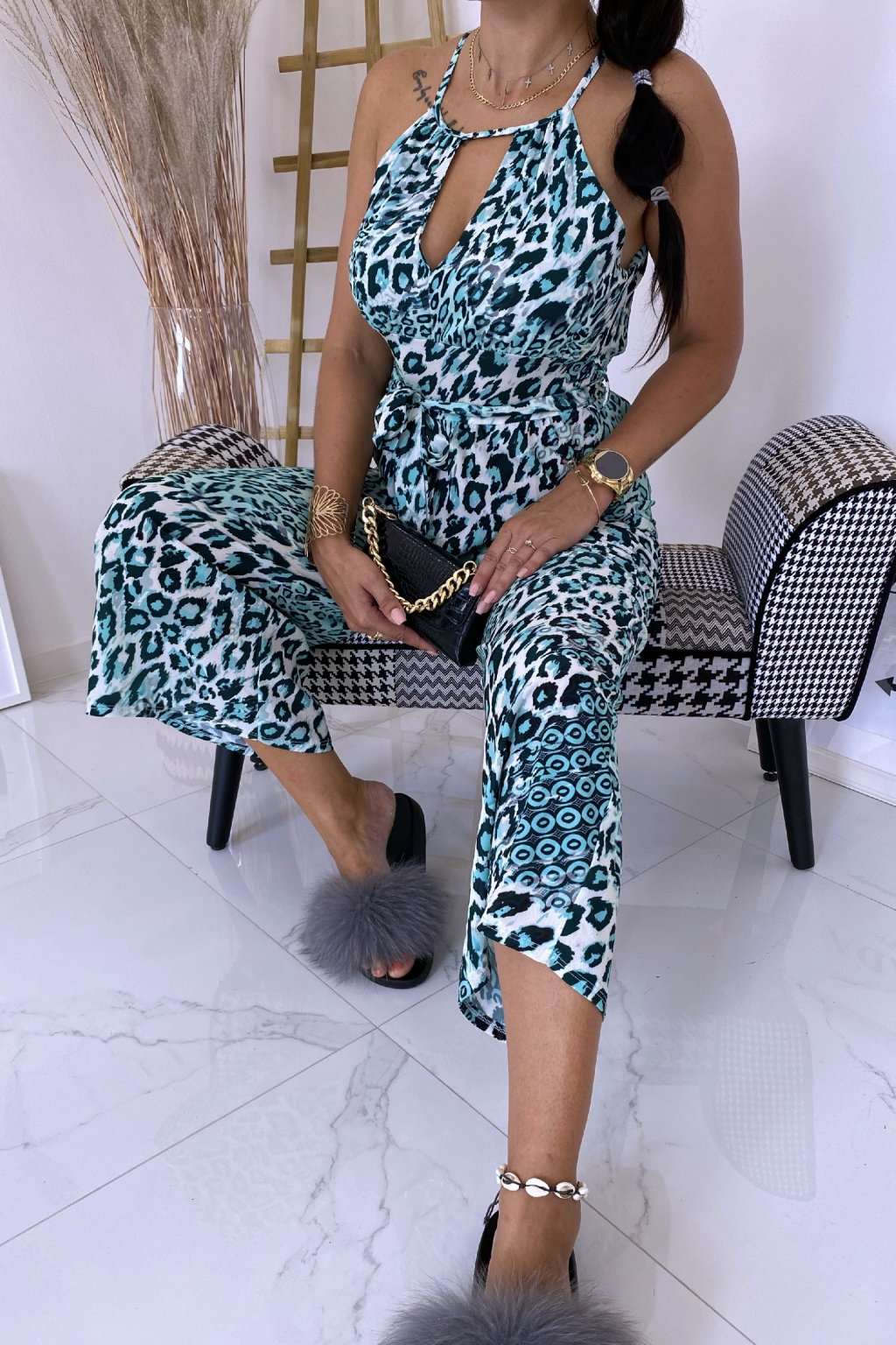 Mint overal Latino Leopard