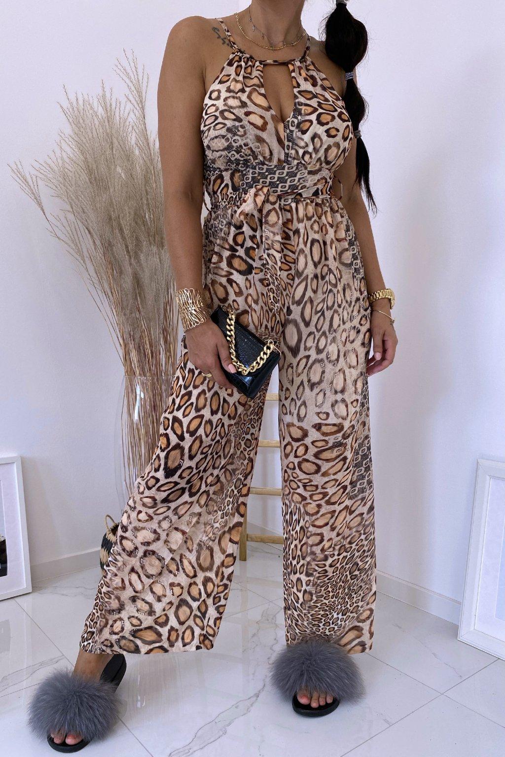 Béžový overal Latino Leopard