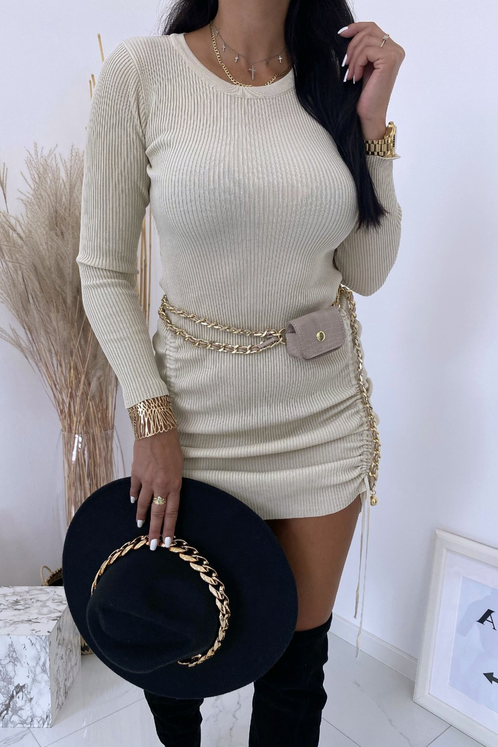 Pletené béžové šaty Sandra