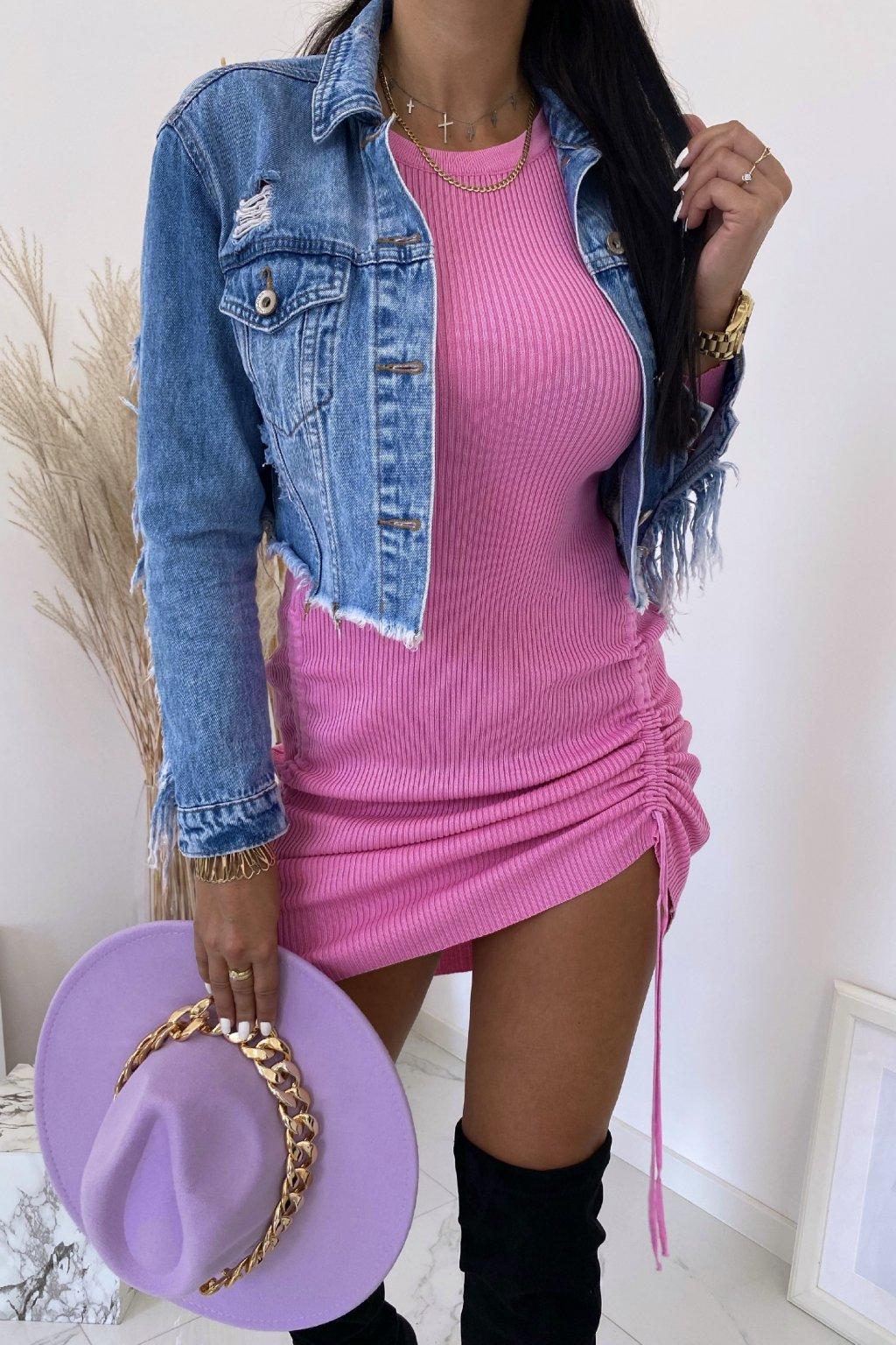 Pletené růžové šaty Sandra