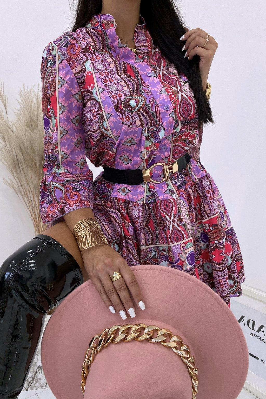 Vzorované lila šaty s páskem Paola