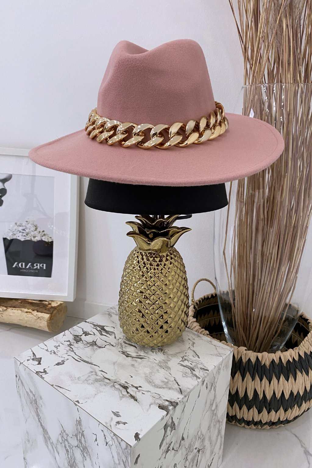 Růžový klobouk Gold Max