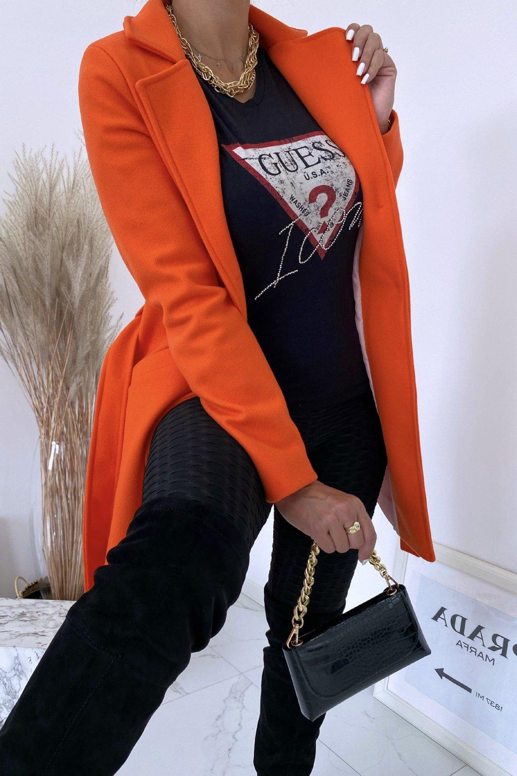 Flaušový oranžový kabát