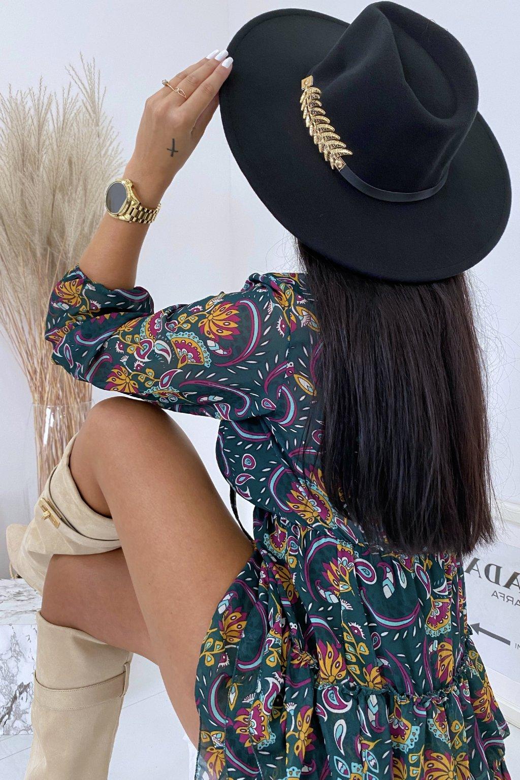 Černý klobouk Feather