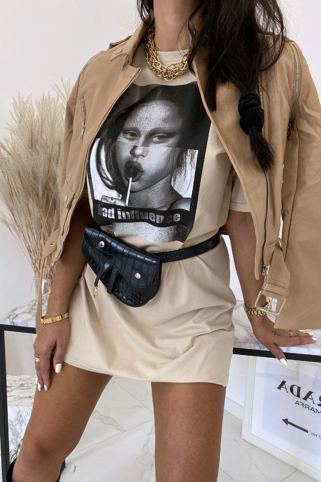 Béžové oversize tričkové šaty Lisa