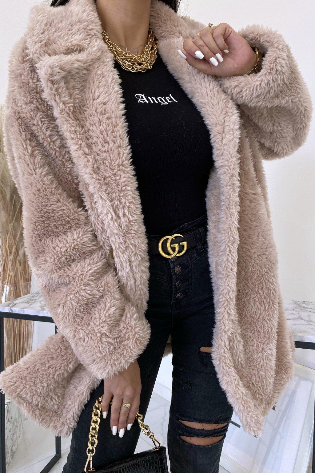 Béžový oversize kabát Teddy