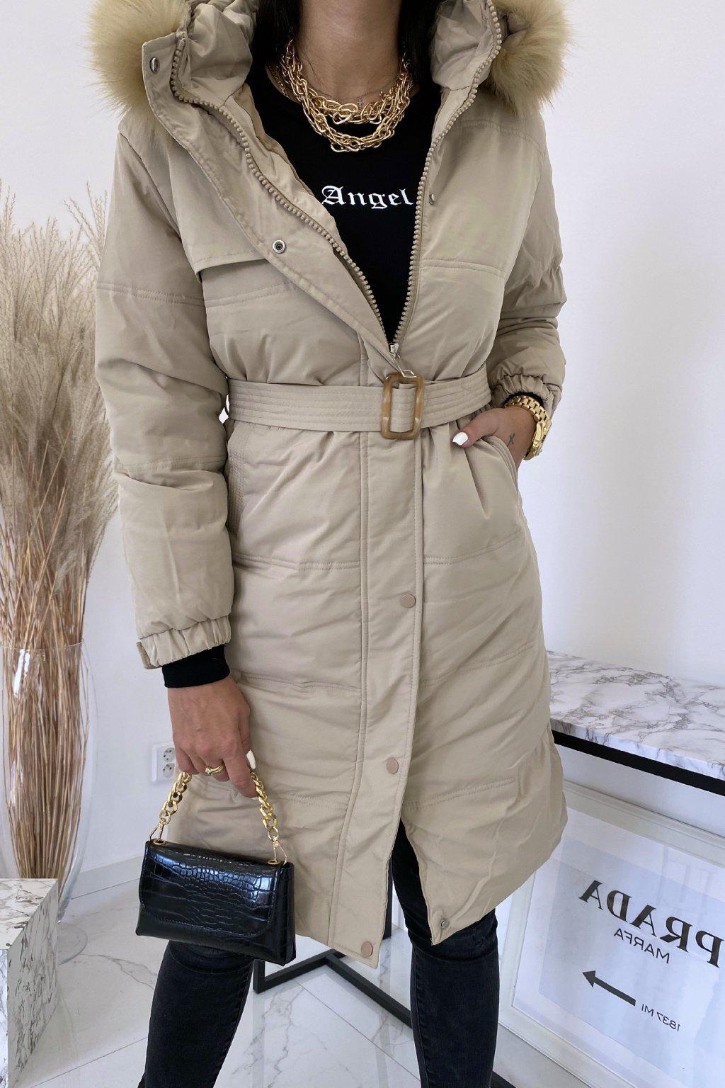 Béžová delší bunda s kožešinou Sorella