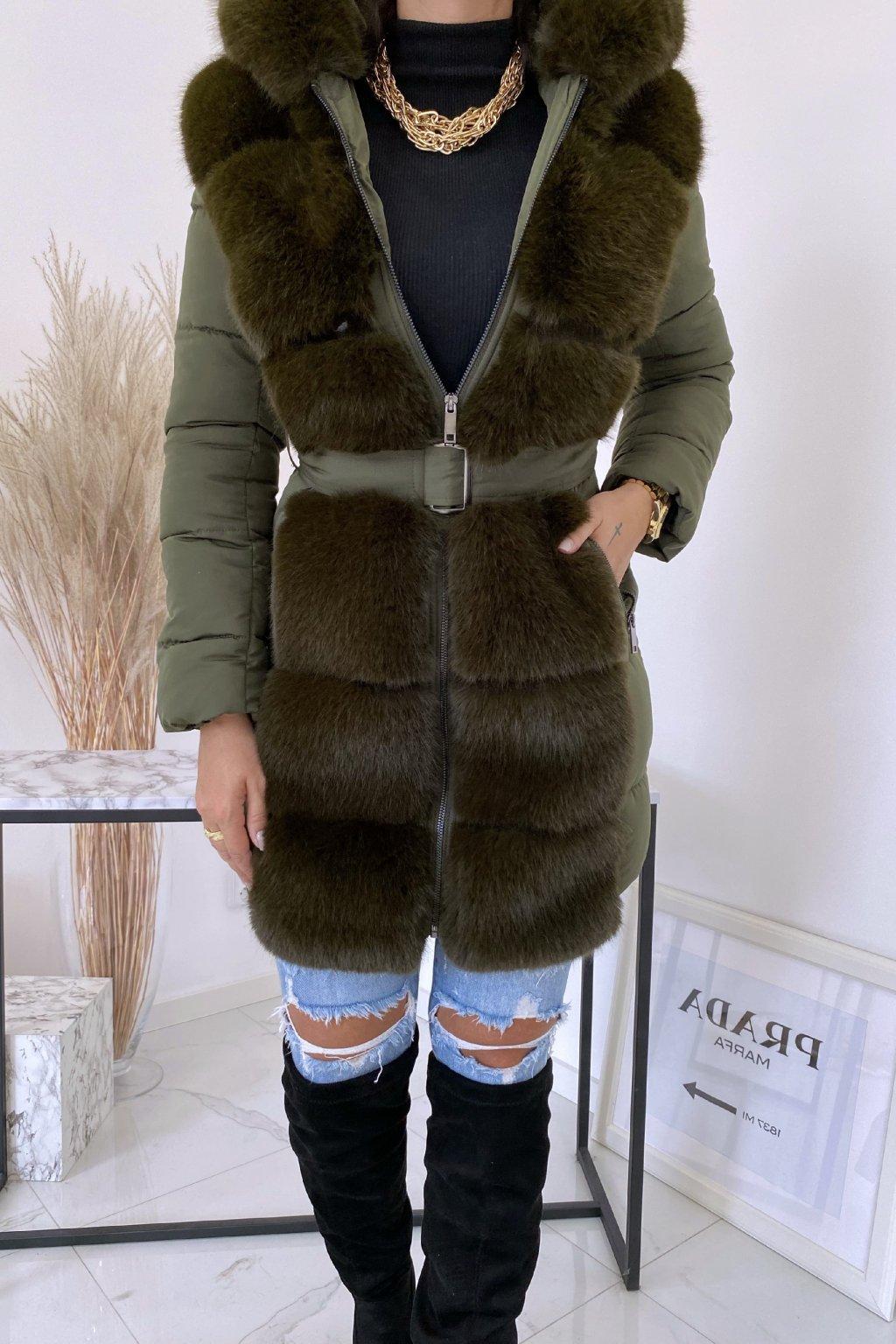 Khaki zimní bunda Tiara