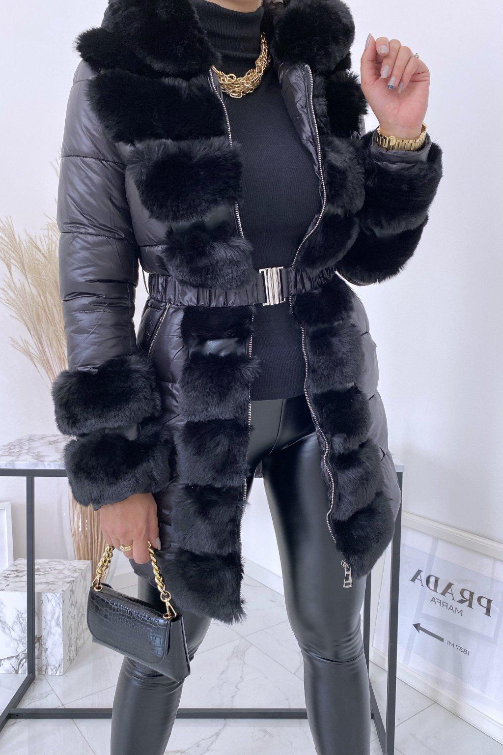 Černá bunda MISTY s kožešinou