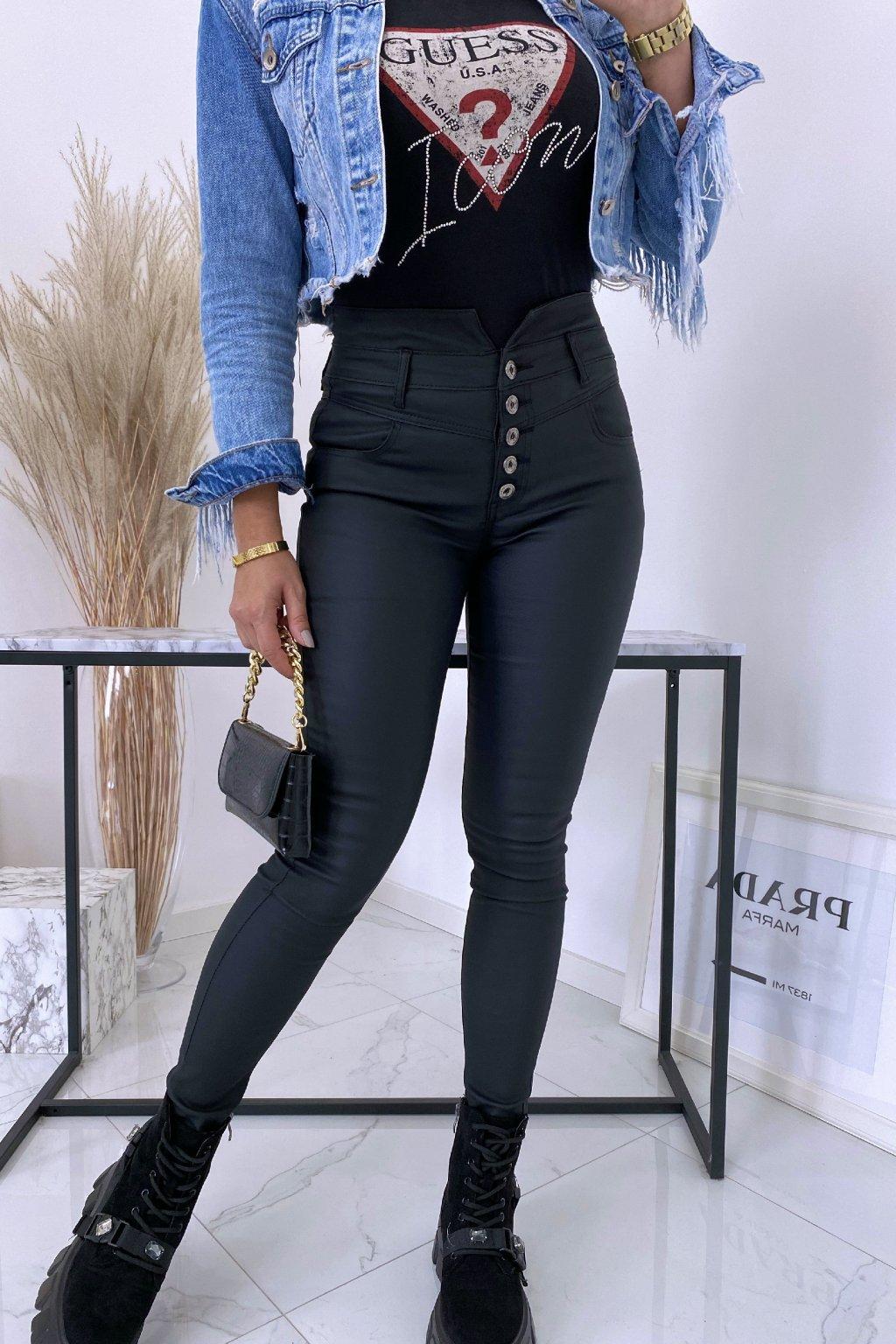 Černé voskované kalhoty Icon