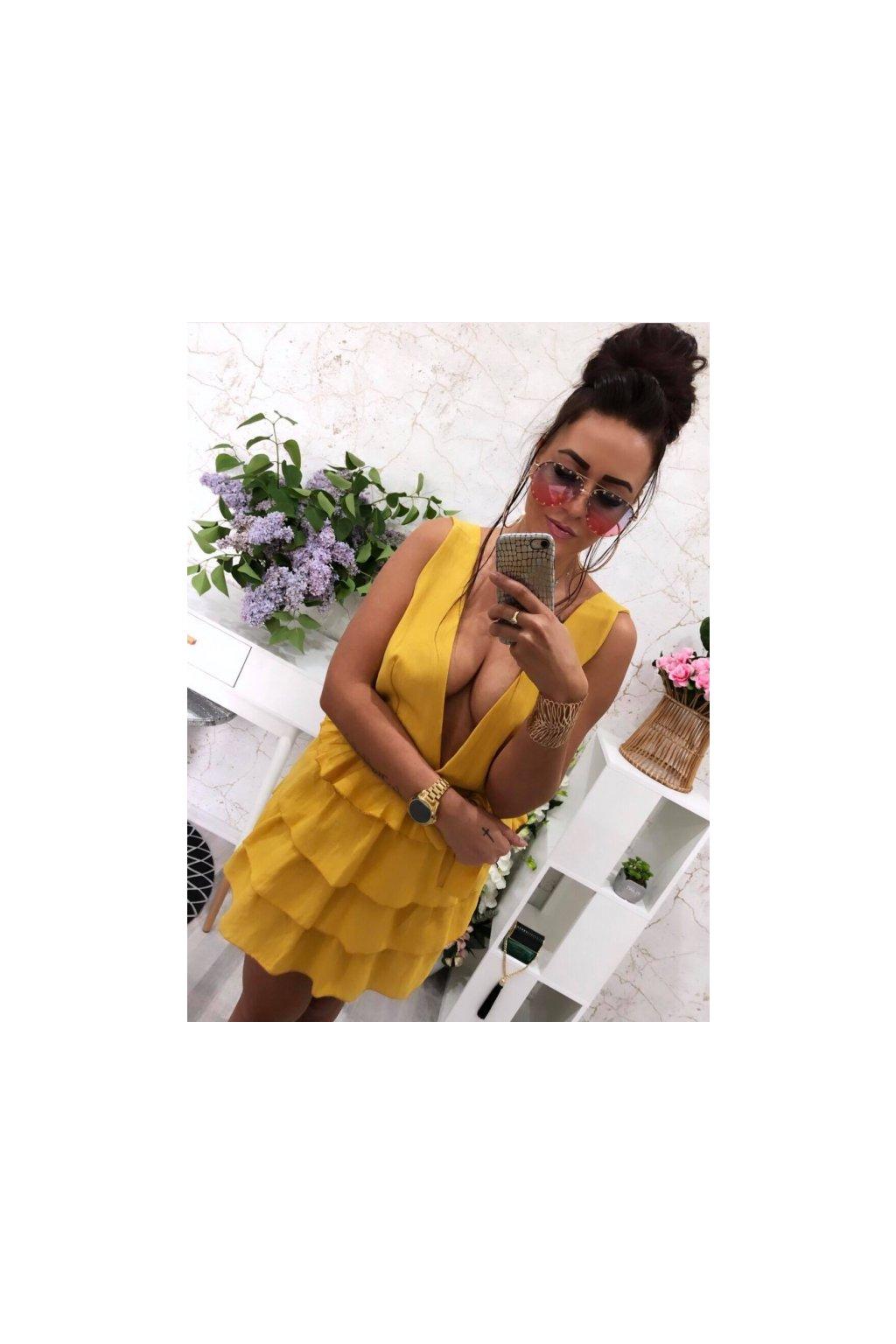 Žluté sexy šaty