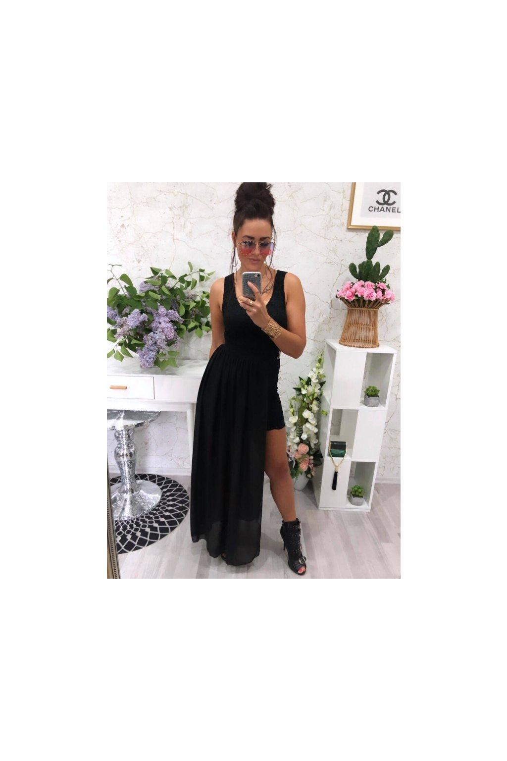 Krajkové šaty se sukní černé