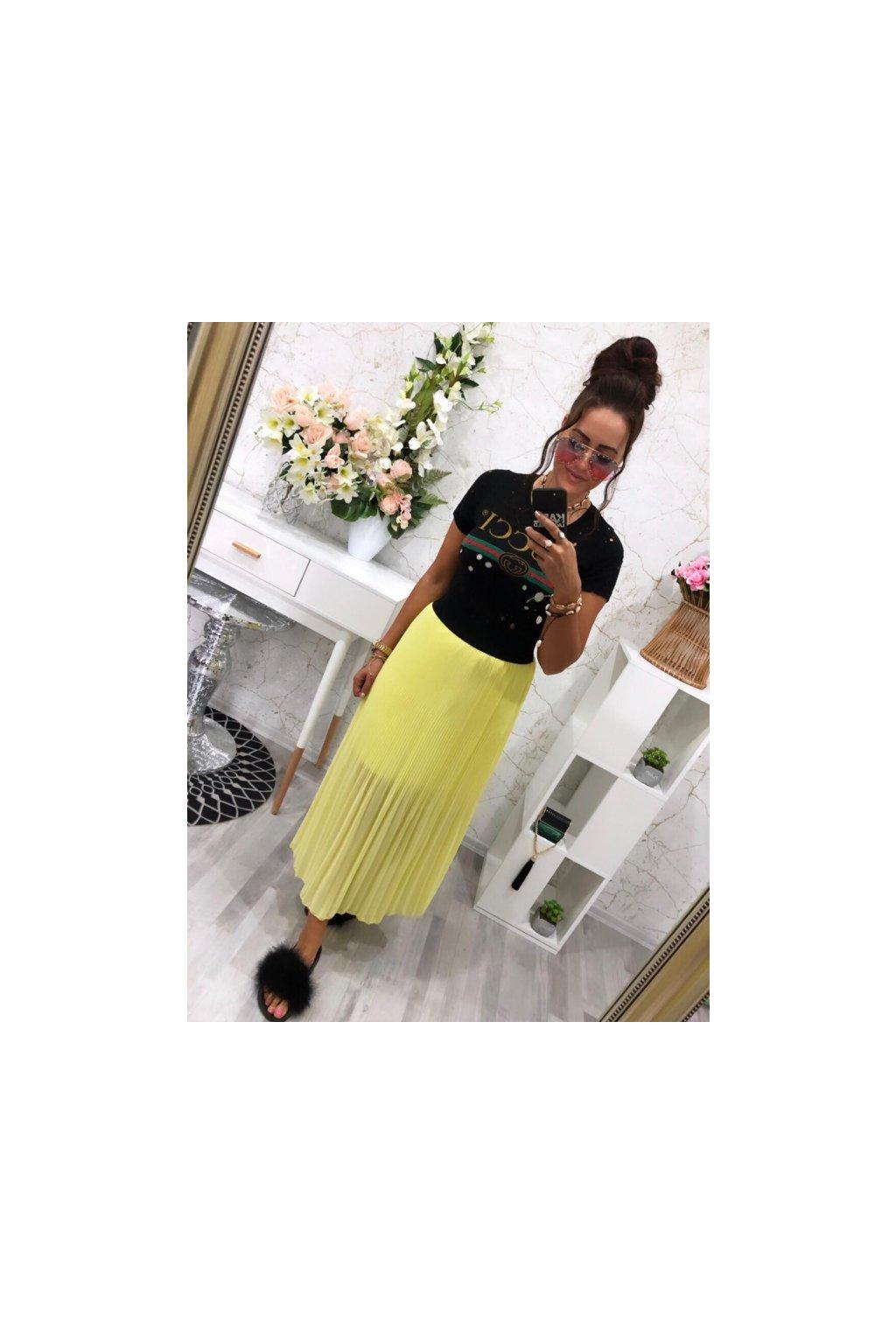 Plísovaná maxi sukně žlutá