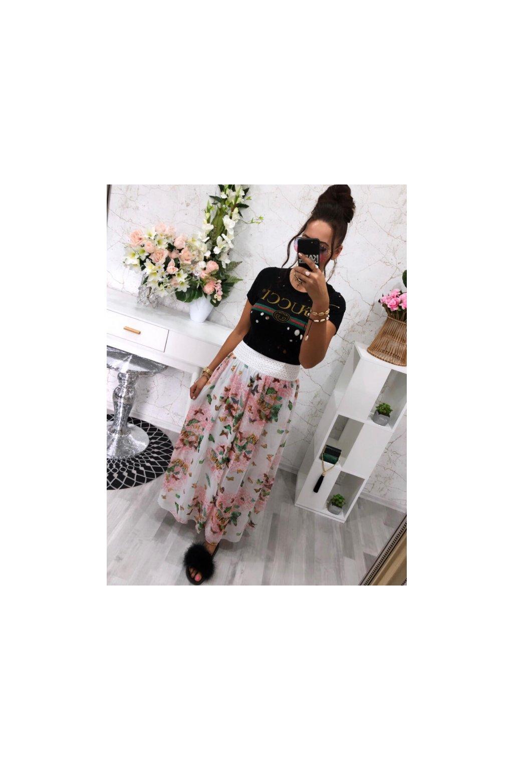 Maxi sukně pink butterfly
