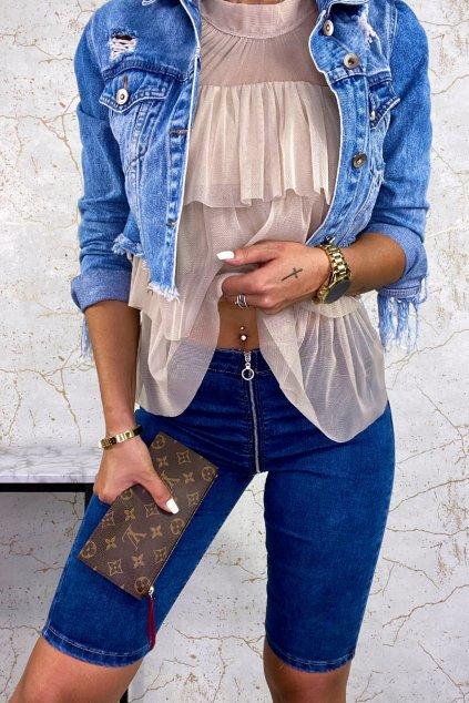 Modré Shorts džíny se zipy