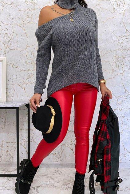 Červené koženkové kalhoty