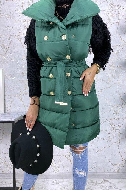 Prodloužená smaragdová vesta - Carrie